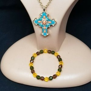 Cross santa fe style faux costume jewelry set